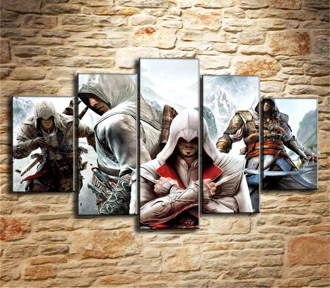 Großhandel Assassins Creed, 5 Stück Leinwand Wandkunst Ölgemälde ...