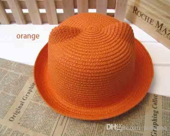 935ea65eb01 2019 Fashion Ears Straw Hats Baby Hats For Girls Bucket Hat Boys Cap  Children Sun Summer Cap Kids Solid Beach Panama Caps From Aimama