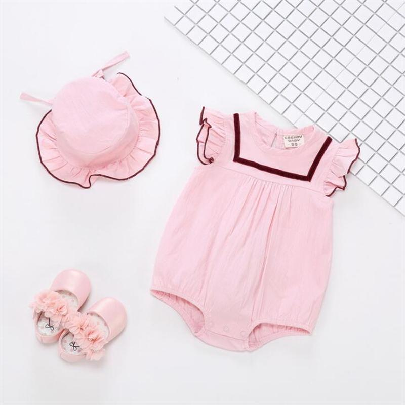 5a951da8d7df 2019 Summer Newborn Baby Girls Romper Kids White Pink Cute Romper ...