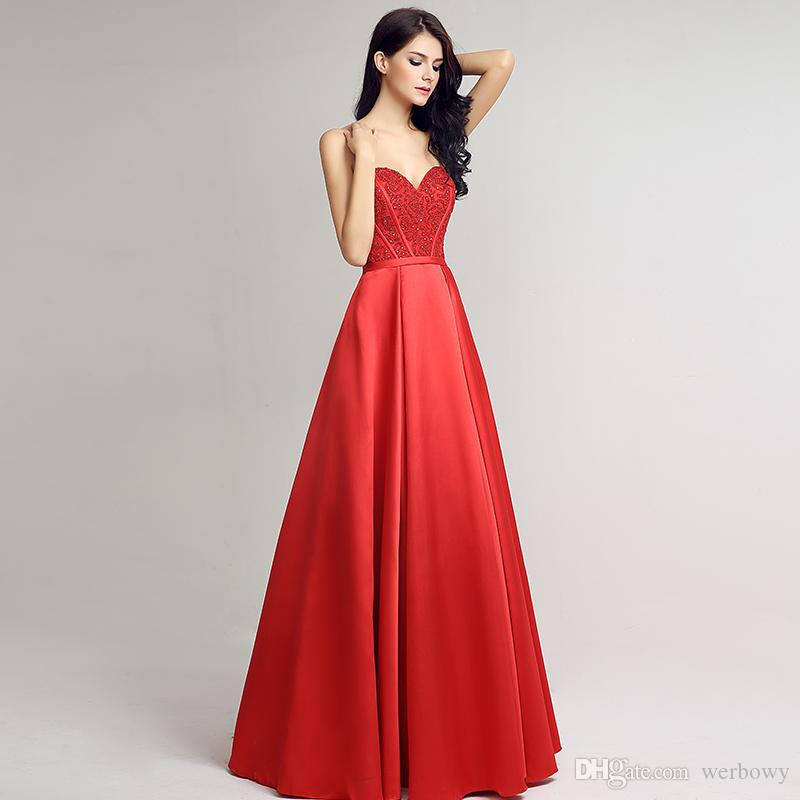 2018 New Spring And Summer Bra Formal Evening Dresses Red Satin Back Strap long Beaded Ball Prom Gown HY046