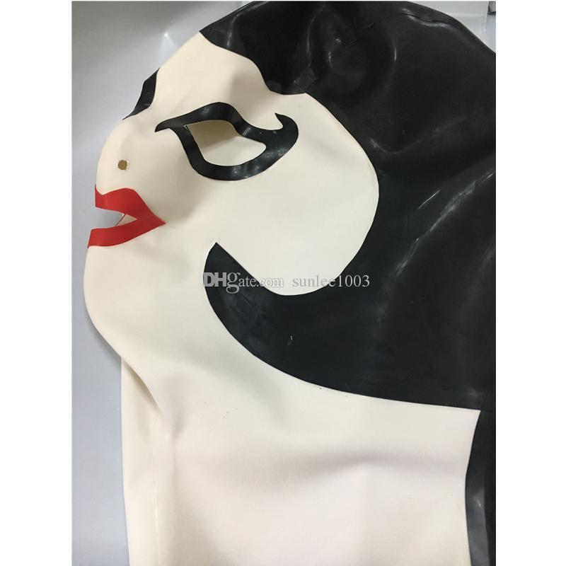 جديد مثير المنتجات الإناث النساء اللاتكس الدراما المسرحية قناع الدومينو اليدوية القلنسوات الظهر البريدي تخصيص حجم صنم زي zentai