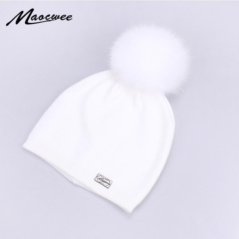 dee4d2d6 100% Fox Fur Pompom Hat Women Knitted Beanies Hats Solid Black White Soft  Warm Winter Twist Skullies Fluffy Pom Pom Caps Bones D18110601 Beanie Hat  Sun Hats ...