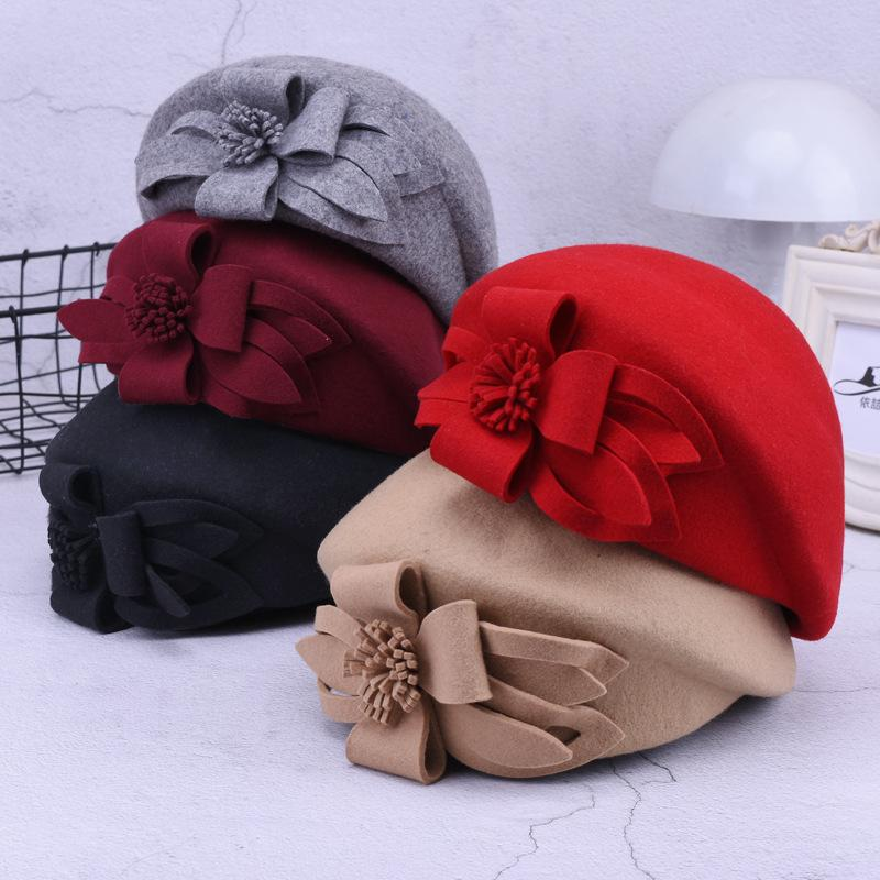 6d7b80db08a New Flower Beret Hat Women Wine Red Grey Felt Pillbox Women Hat ...
