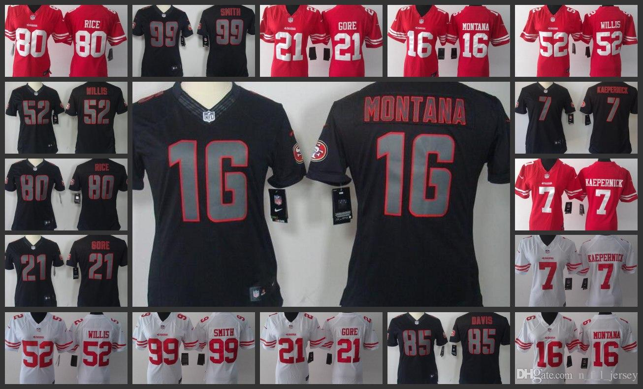 new arrival a928a 031e0 San Francisco Woman 49ers Jersey #16 Joe Montana 7 Colin Kaepernick 52  Patrick Willis 80 Jerry Rice Football Jerseys