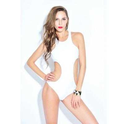 f464d828ffb7f Women s One Piece Swimsuit Sexy Solid White Side And Back Cut out ...