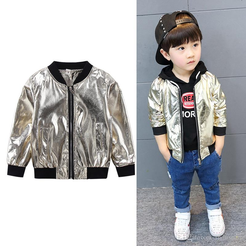 4a8eb40eb 1 7 Years Leather Golden Bomber Jacket Babies Clothes For Baby Boy ...