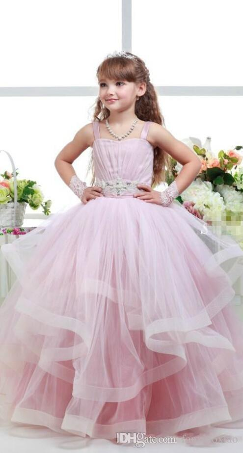 21443e7a67ba 2018 Pink Glitz Flower Girls Dresses Child Ball Gowns Spagheti Strap Kid  Party Birthday Communion Dress Back Lace Up Layers Girls Pageant Monsoon  Girls ...