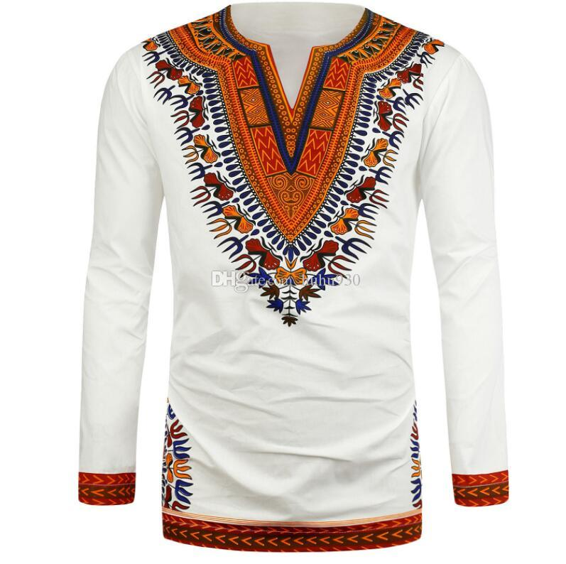 Afrikanische Trachten Kleider Mode Stil Design Dashiki T-Shirt Afrikanischen Print Kleidung Männer Traditionellen Afrika T-shirt Weiß Schwarz
