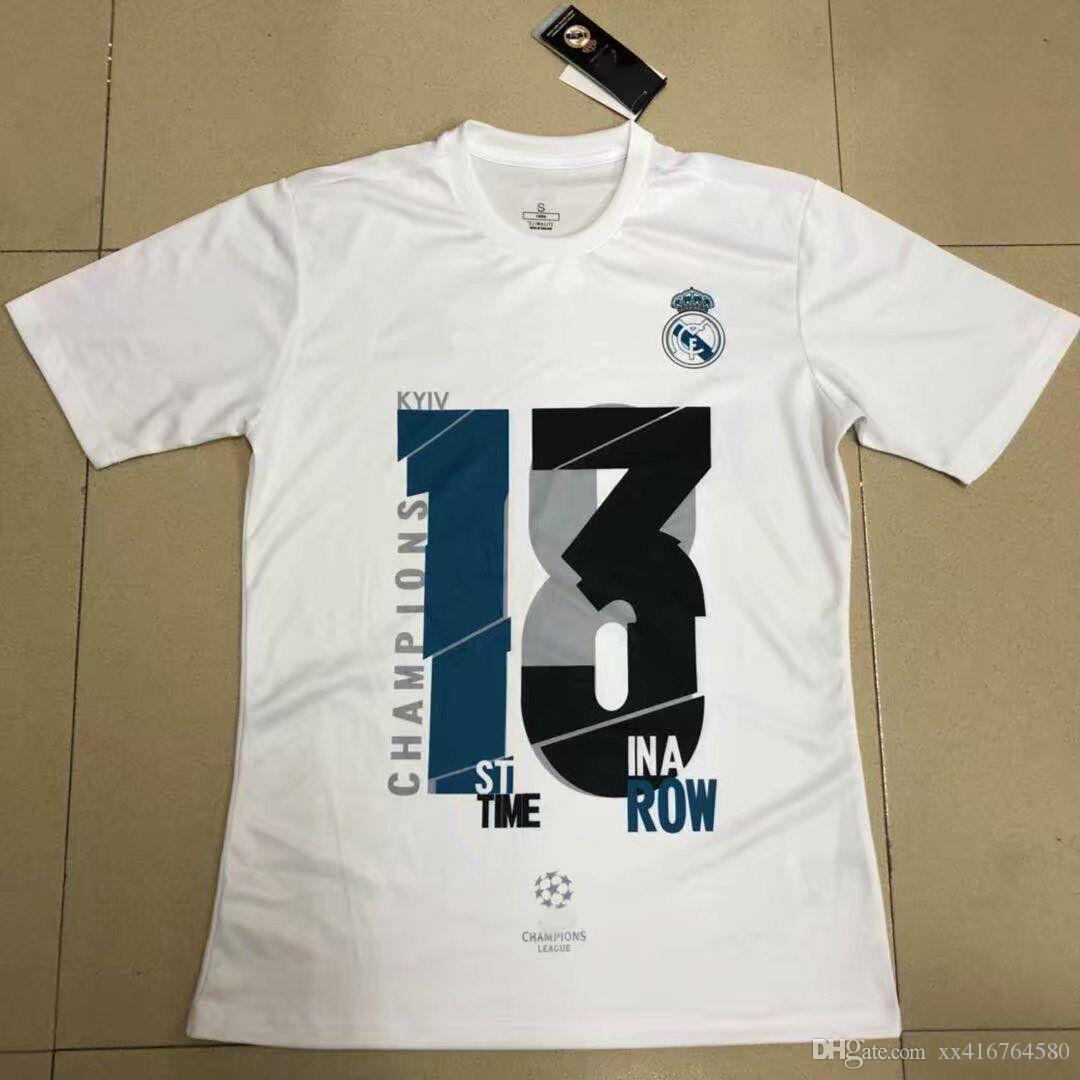a92d42244 2018 Real madrid 13 st time ina row Soccer Jersey RONALDO ASENSIO RAMOS  ISCO KROOS MODRIC 13 Champions League Casual football shirts 2XL