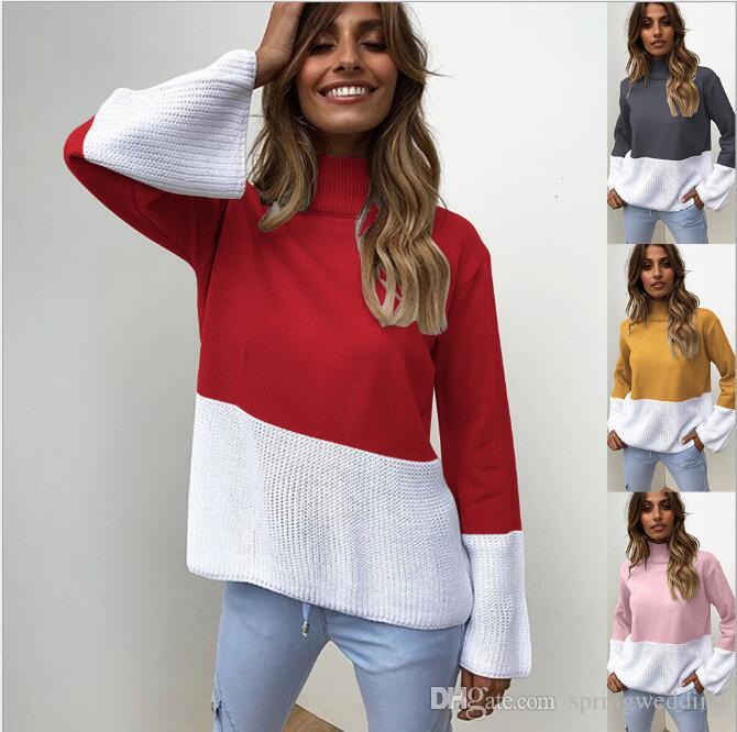 2019 2018 New Women Winter Knitted Korean Sweater Fashion Patchwork ... 277077152