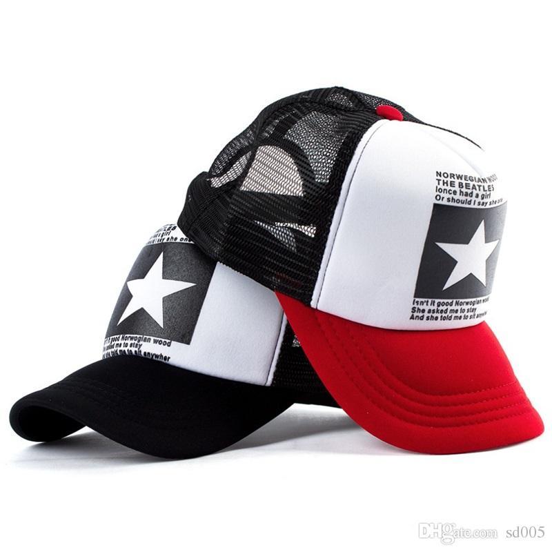 Five Pointed Star Net Cap Baseball Cap Embroidered Adjustable Snapbacks Sun  Shading Hip Hop Hats Summer Fashion Golf Gift 6 9py Jj Kangol Baseball Caps  From ... 1824df2348cb