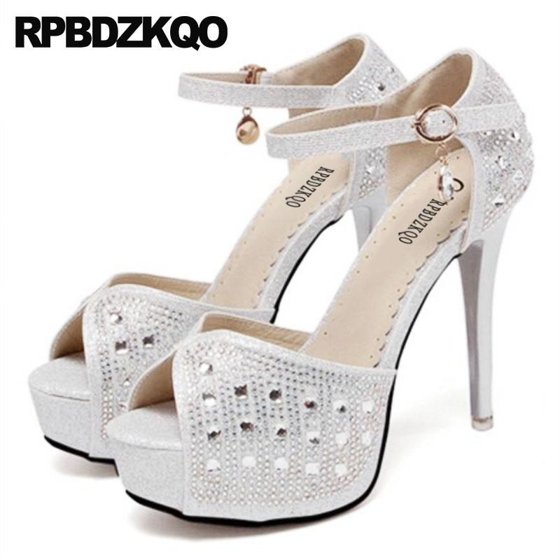 Diamond Embellished Peep Toe Bling Pumps Ankle Strap Stiletto Women Sandals  2018 Summer High Heels Shoes Platform Silver Crystal Online with   123.55 Pair on ... 0d2f26191adc