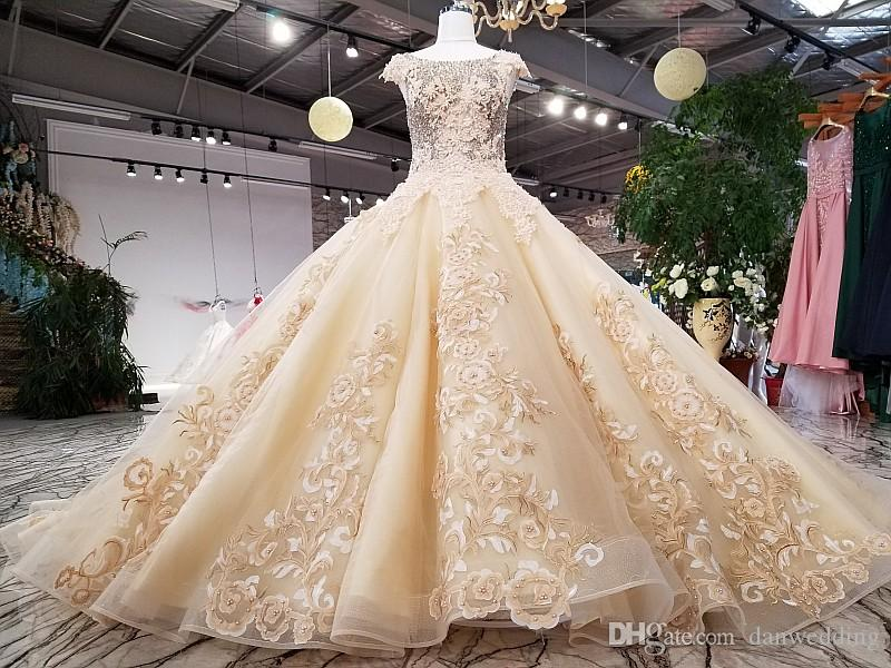Sparkle Champagne Scoop Tulle Applique Beads Ball Gown Wedding Dresses Bridal Dresses Events Dresses Custom Size 6 8 10 12 W306071
