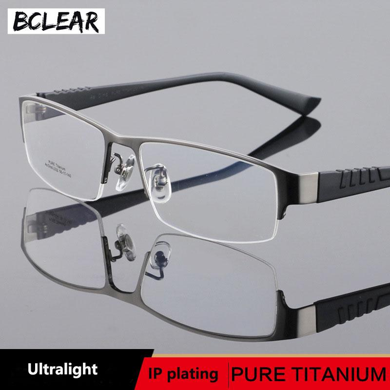 098a538177 2019 BCLEAR Titanium Glasses Frame Half Rim Fashion Men Ultralight Square  Prescription Eyeglasses Male Vintage Optical Frame Quality From Buafy