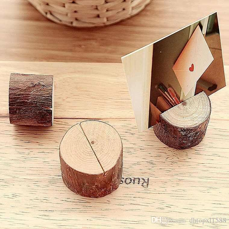 Tree Stump Craft Place Card Holder Rustic Style Seat Folder Photo