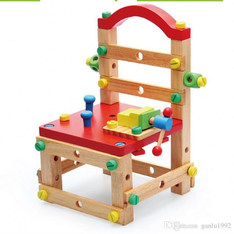 Children Intelligence Assemble Toys Multifunction Disassembly Chair Exercise Hands On Ability Puzzle Wooden Toy Designed For The Baby 45yh W