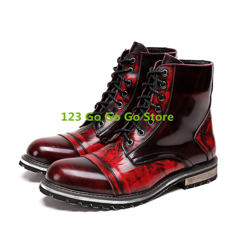baed457c45d474 New Round Toe Leather Men Boots Front Lace Up Med Heel Short Booties European  Stylish Handmade Brand Shoes Bottes Pour Hommes Chelsea Boot Mens Chelsea  ...