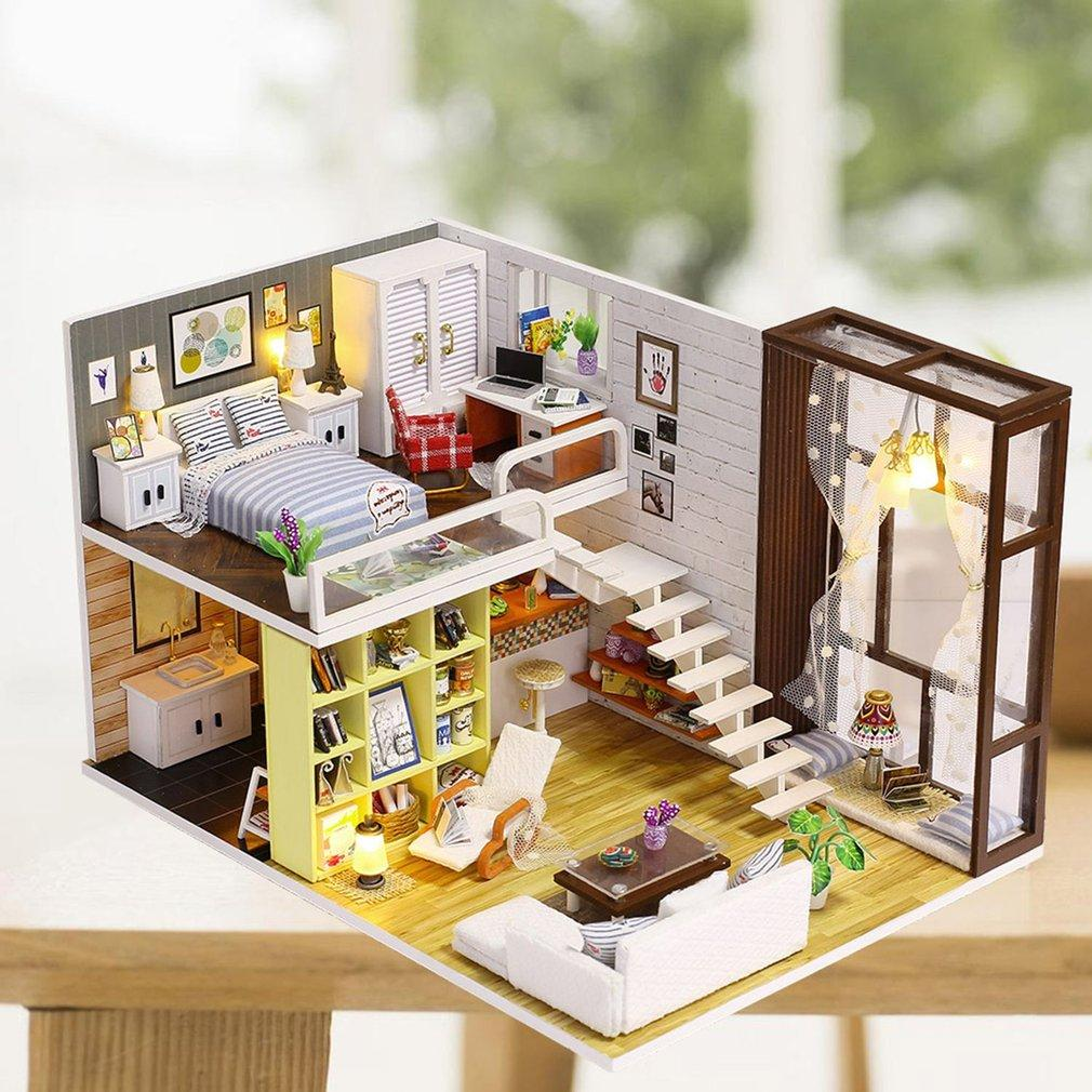 Diy Simple City Room Doll House Miniature Dollhouse With Furnitures