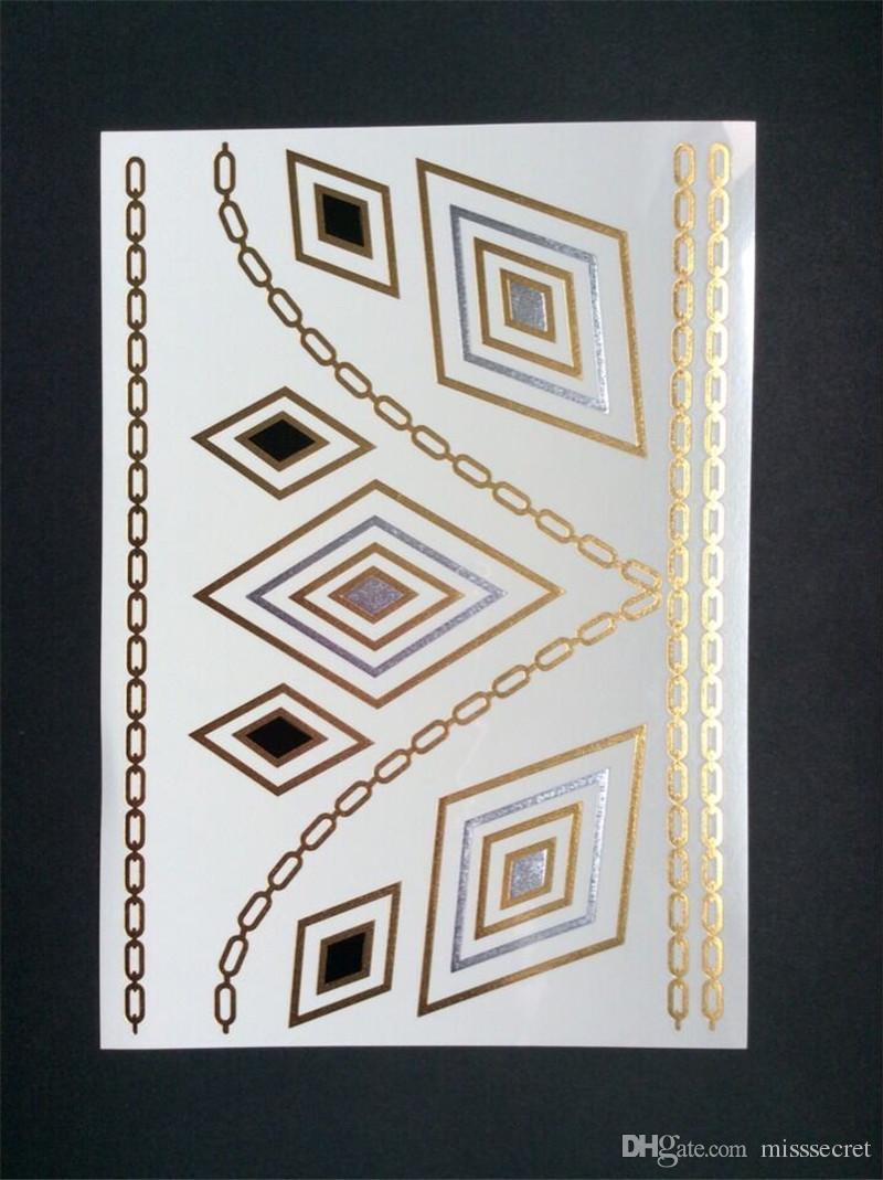 Flash Metallic Gold Silver Impermeable Tatuajes temporales Suministros de tatuajes Collar de flores de henna Pulsera Tattoo Stick Paster 120 estilos