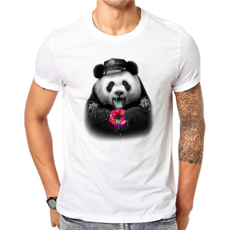 58d508e4a037 100% Cotton Donuts Panda Design Men T Shirt Lovely Animal Design Printed  Male Cool Tops Short Sleeve Casual Tee T Shirts Cool Shirt Designs T Shirt  Quotes ...