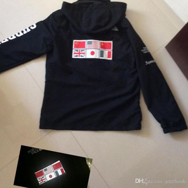 Roupas de moda nova Bandeira de mosaico mundo militar Mapa Jaquetas jaquetas Refletivas casacos Masculino Casaco Blusão Com Capuz bordado outerw
