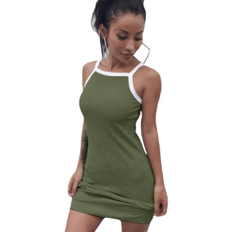 f1285379dd Compre 2019 Verano Casual Mujeres Elegante Vestido Sin Mangas Correa ...