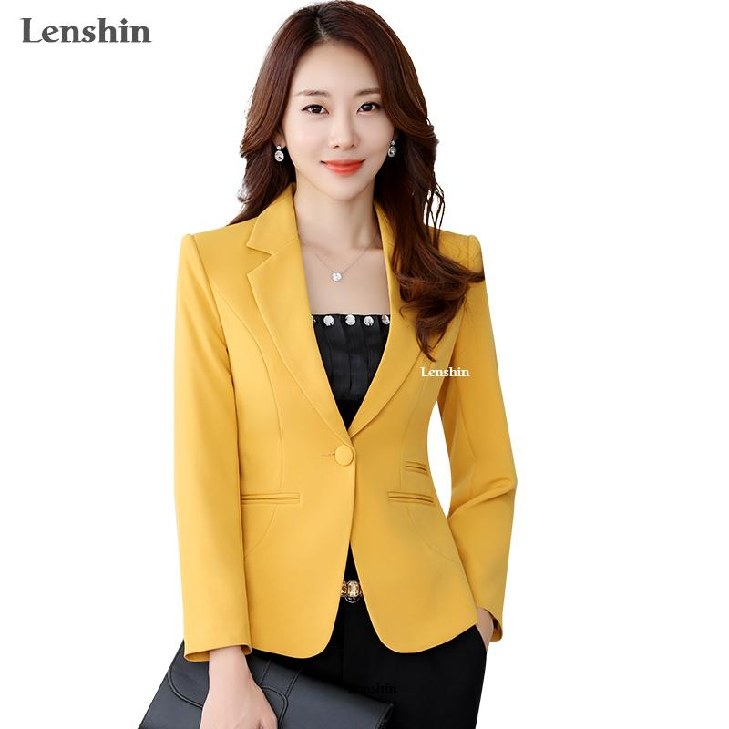 5ded446650687 2019 Lenshin Yellow Blazer Straight And Smooth Jacket Office Lady Style  Coat Business Formal Wear Candy Color S18101305 From Xingyan03
