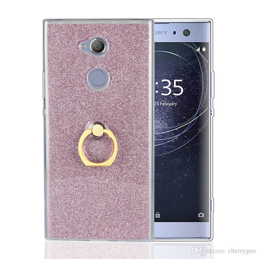 Glitter bling case para sony xperia xa2 ultra, suporte do anel de dedo tpu  silicone case para sony xa2 ultra telefone tampa traseira