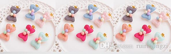 Pet Cats Grooming Accessories Clips handmade pet dog cat Hair bow Hairpin Candy Color Bow Manual Fabric