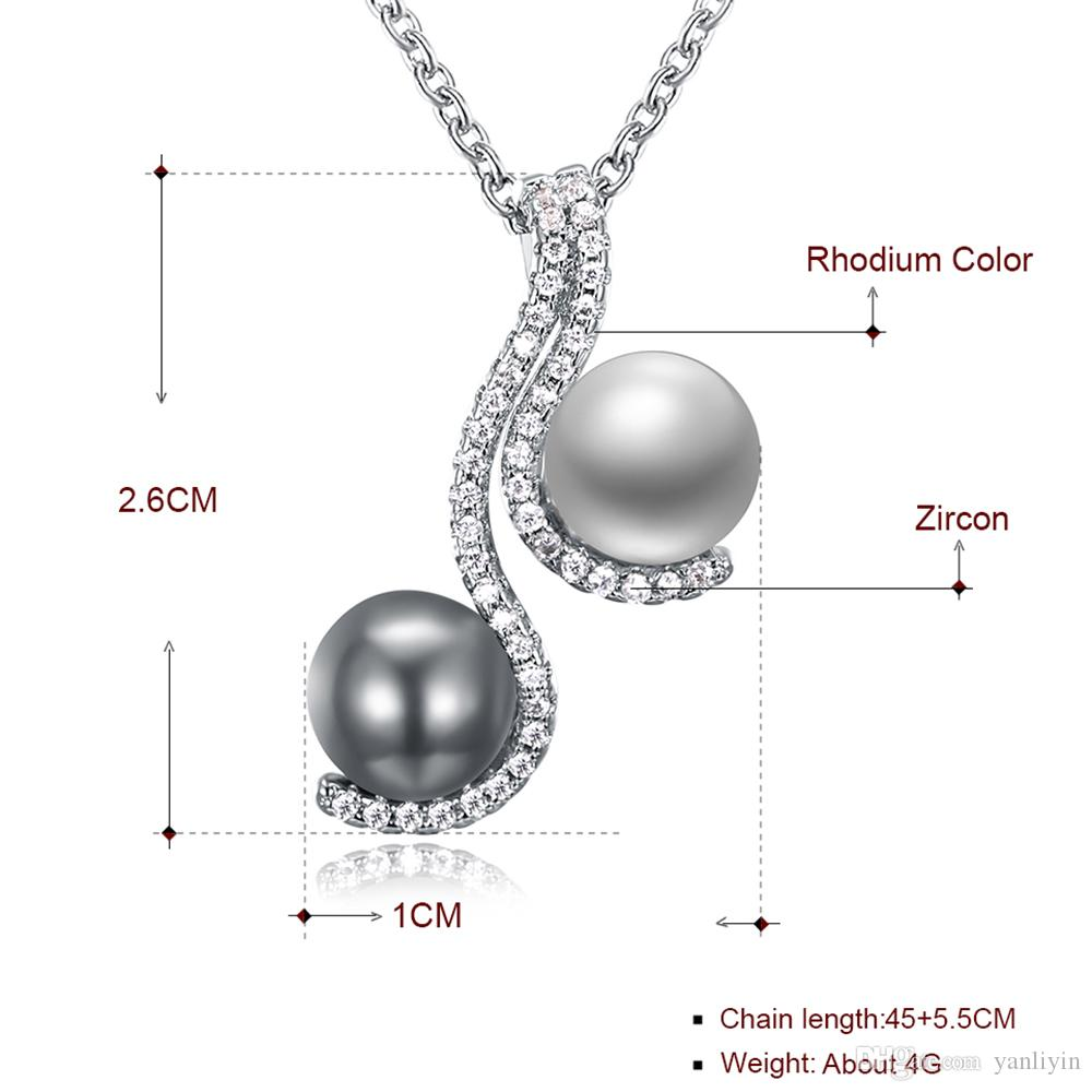 Recommend Wonderful suspension and quick delivery chain pendant necklace Grey/white pearl and crystal elegant female jewelry