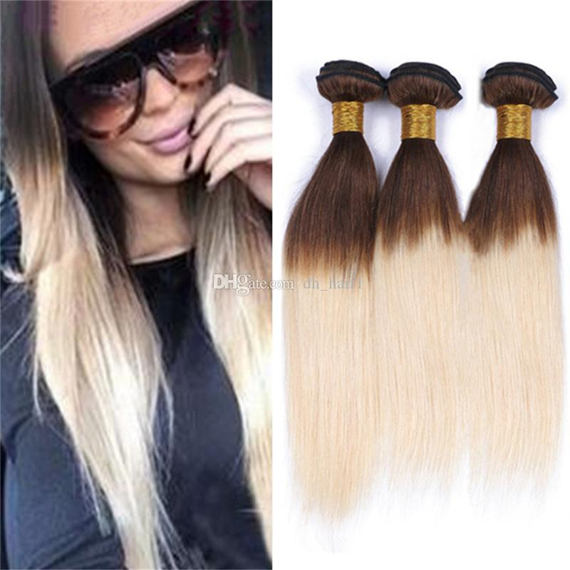 8a Malaysian Straight Ombre Blonde Hair Bundles Brown Roots Blonde