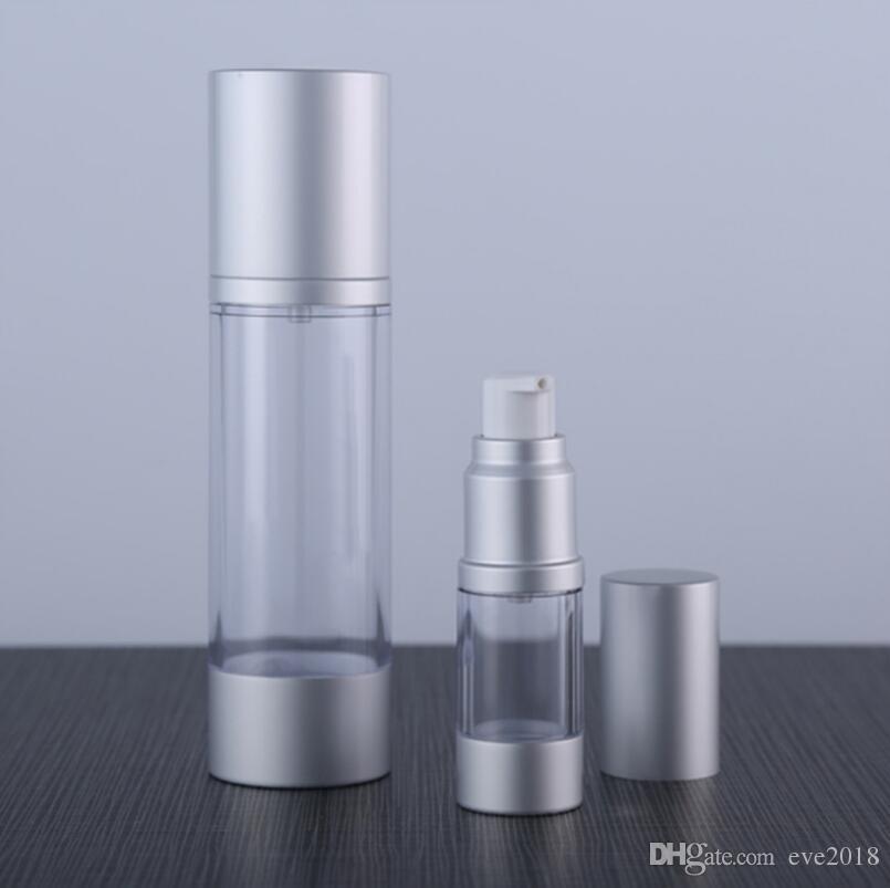 Gümüş Pompa Ile 30 ML Doldurulabilir Havasız Losyon Pompa Şişe, Alüminyum Fazla Cap vakum kozmetik kapları LX2267
