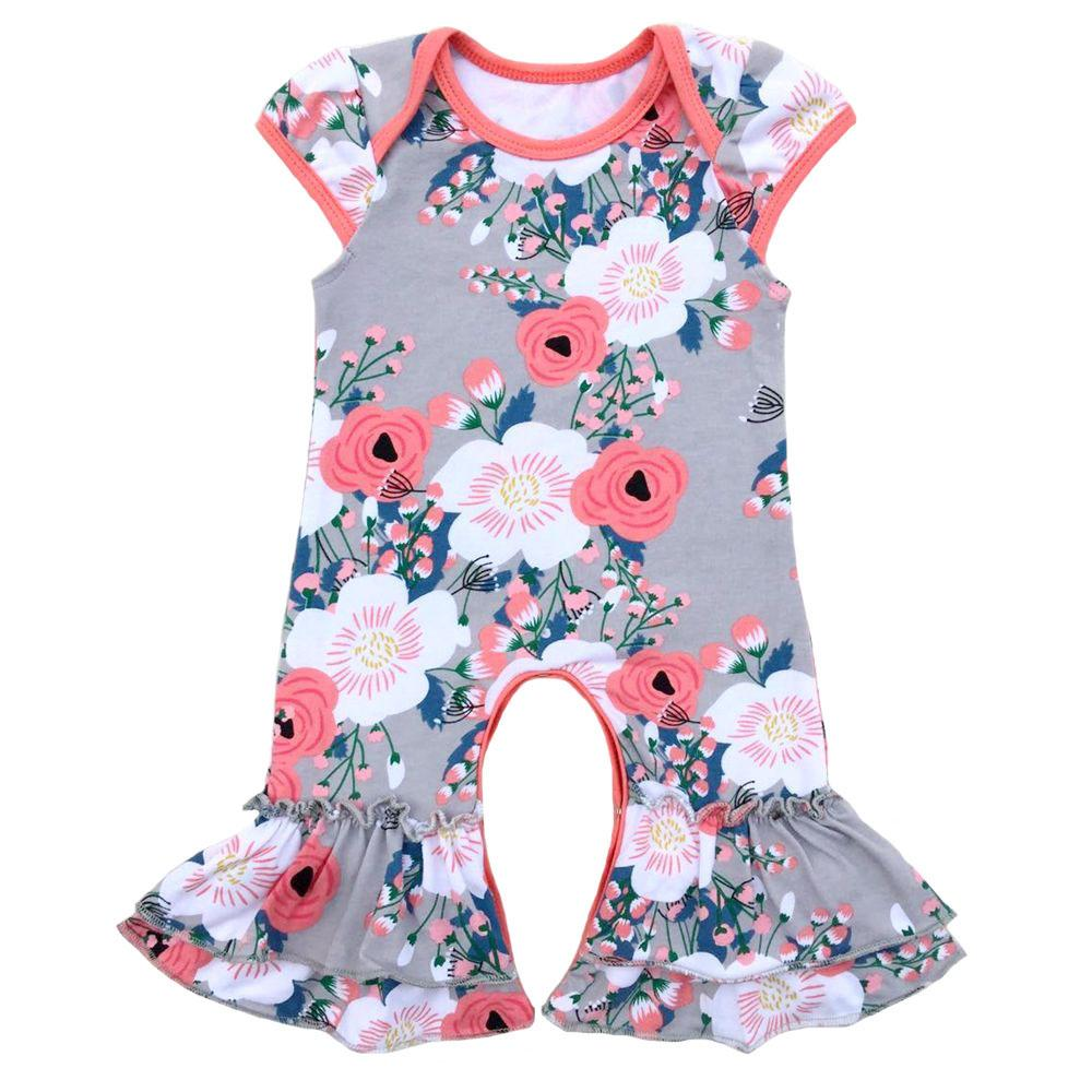 644033486 2019 Baby Girls Short Sleeve Rompers Kids Clothes Cotton Boutique ...