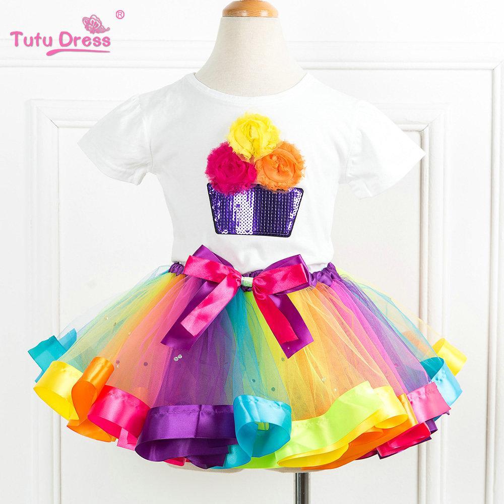Conjuntos de ropa para niñas de verano Rainbow Casual de algodón de manga corta camiseta + Rainbow Tutu faldas niños niños niña ropa Set
