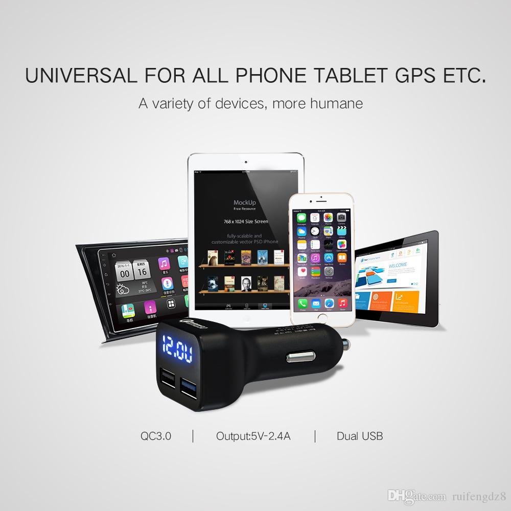 QC3.0 Fast Charge 2.4A Cargador de coche de carga rápida Cargador de teléfono de carga rápida USB Dual LED de corriente de voltaje de pantalla para iphone HTC HTC, etc.