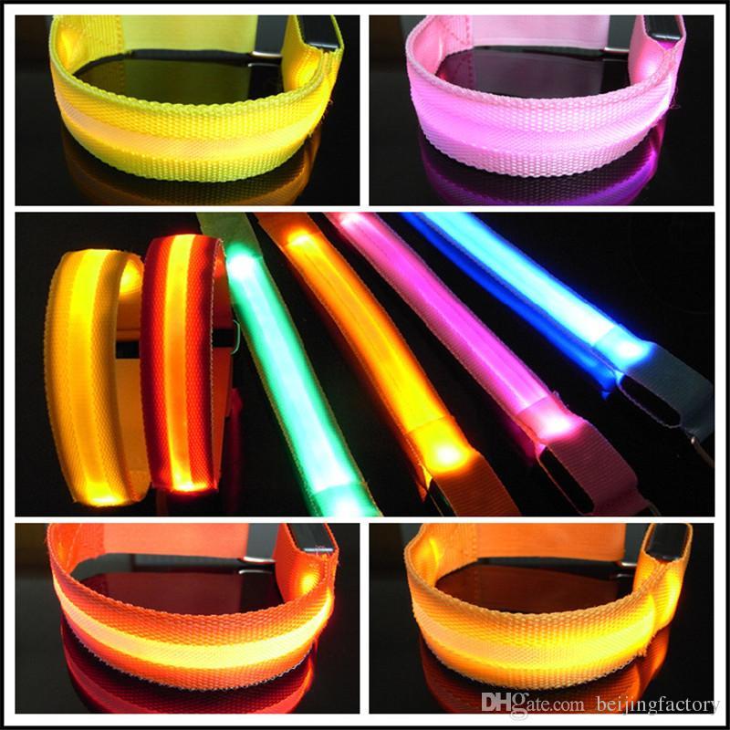 Factory LED Safety Reflective Light Shine Flash Glowing Luminous Armband Arm Belt Band Hand Strap Wristband Wrist Bracelets