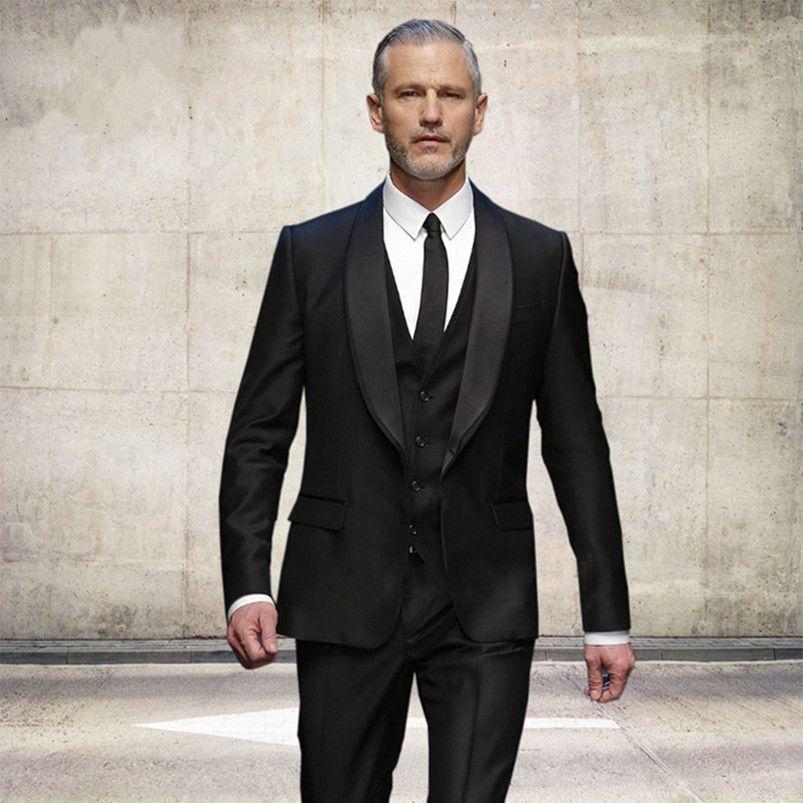 66dcf55711f Customized 2018 New Black Mens Wedding Suits Slim Fit Groomsmen ...
