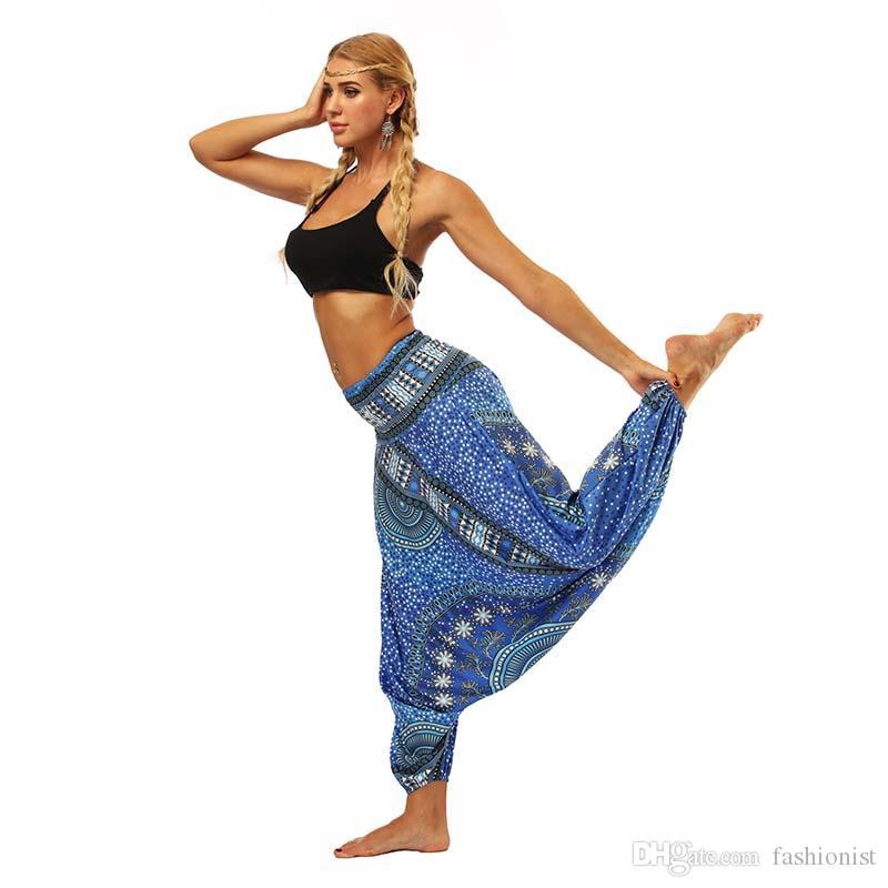 Новые женщины фонарика Йога Брюки Этнический стиль Elastic танцы Fit высокой талией брюки пляж Лучшее качество Бесплатная доставка