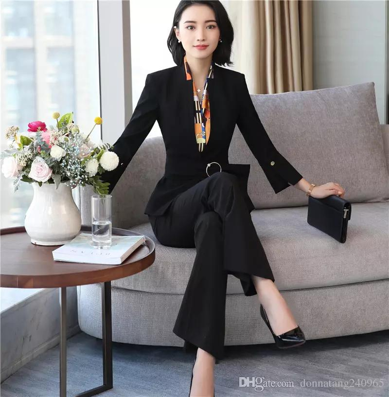Acquista 2 Pezzi Set Di Alta Qualità Donne Gamba Larga Pantalone Vestito  Femminile Vestito Da Donna Business Ufficio Smoking Smoking Bianco Giacca +  ... 90077c5c8a7
