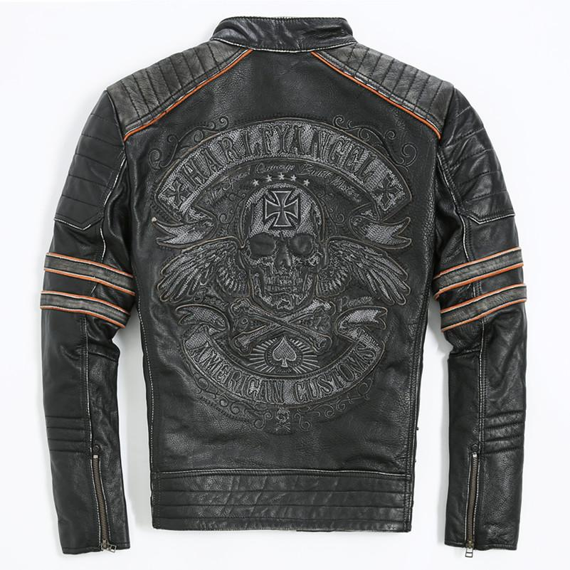 Whole 2018 Men Retro Vintage Leather Biker Jacket Embroidery Skull Pattern Black Slim Fit Winter Motorcycle Coat Uk 2019 From Hongxigua