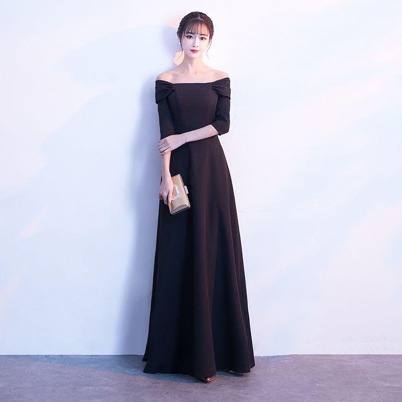 Black Long Evening Dresses Off Shoulder 3 4 Sleeves 2018 New Elegant Plus  Size Formal Prom Party Dresses Evening Wear Cheap Real Photo Evening Dresses  Nz ... d08337cdca3f