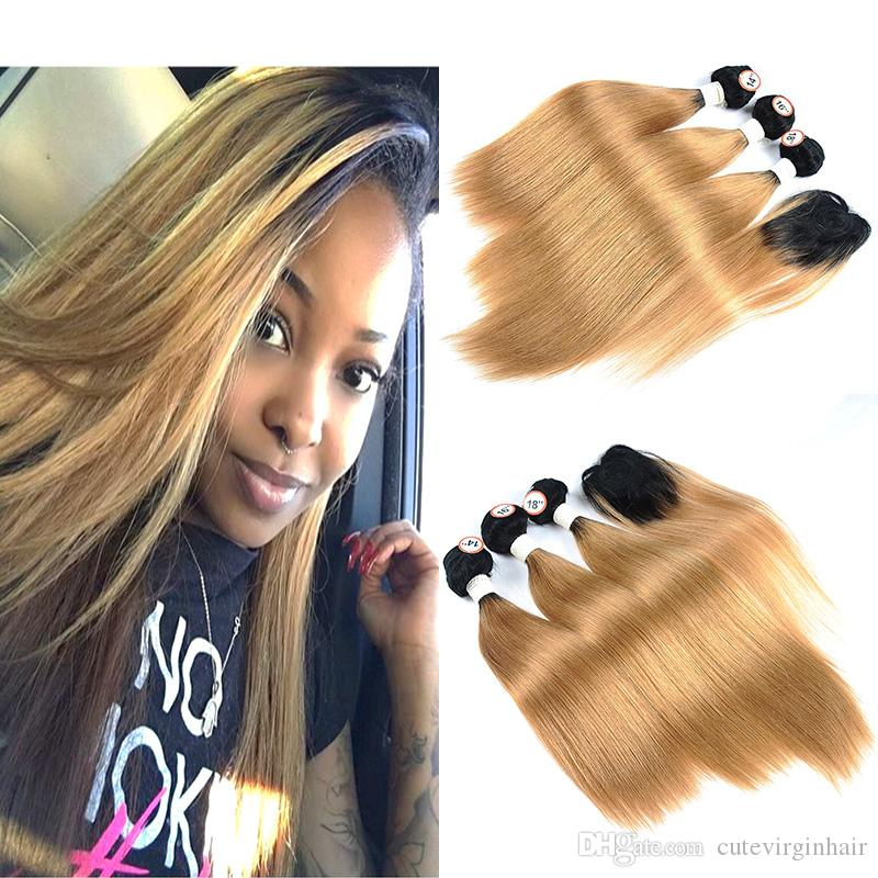 Hair Extensions & Wigs Wome #27 Peruvian Straight Hair With Closure Honey Blonde Color Human Hair Weave 3 Bundles With 4x4 Lace Closure Non Remy Hair
