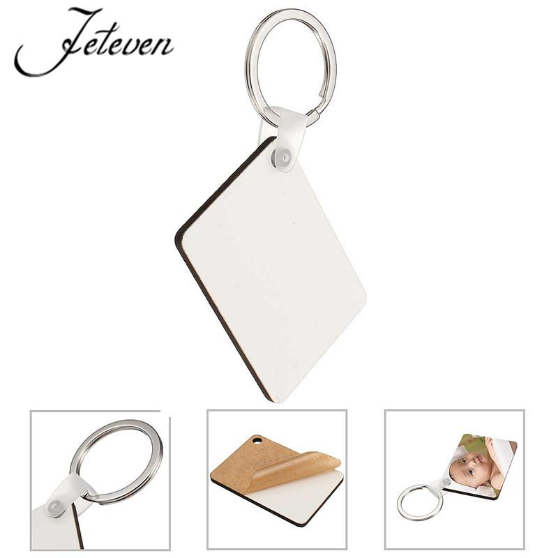 DIY Rectangle White Blank MDF Key Chain Fashion OEM Sublimation Wooden Key Rings For Heat Press Transfer Jewelry 2017 New