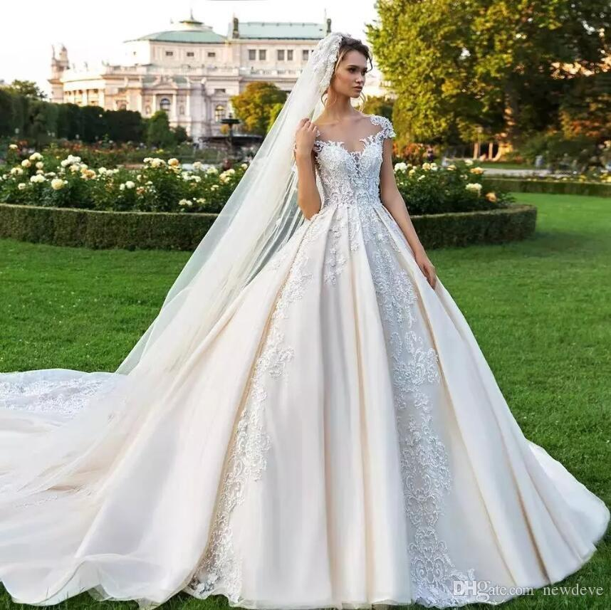 1541c0dfca17 Vintage Lace Ball Gown Wedding Dresses Beaded Sheer Plus Size ...