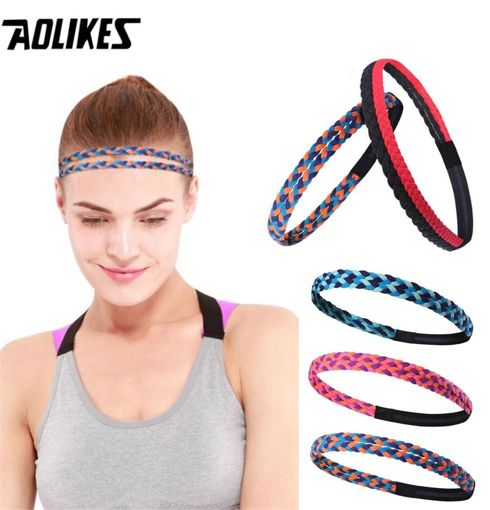 97248ccb81c5 2019 AOLIKES Yoga Sweatband Weave Elastic Sport Headband For Women Men  Running Hair Bands Antiskid Fitness Sweat Bands From Annuum