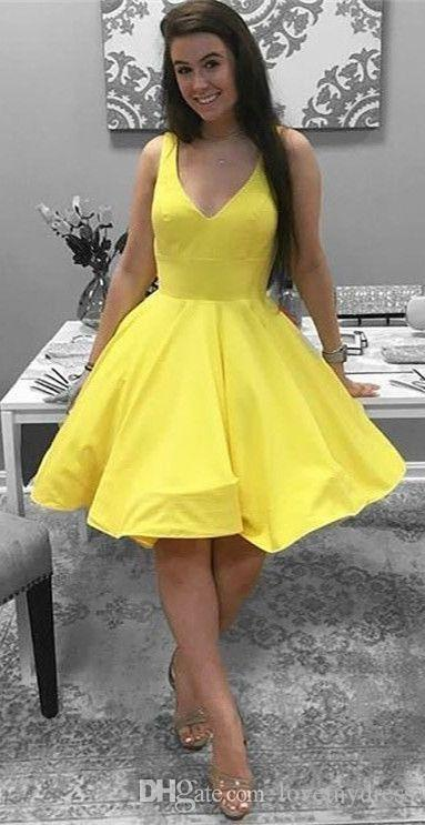 b682d023344 2018 Yellow V Neck A Line Graduation Prom Dresses Backless Simple Designer  Cheap Short Formal Gowns Cocktail Homecoming Party Dresses New Green Dresses  Long ...