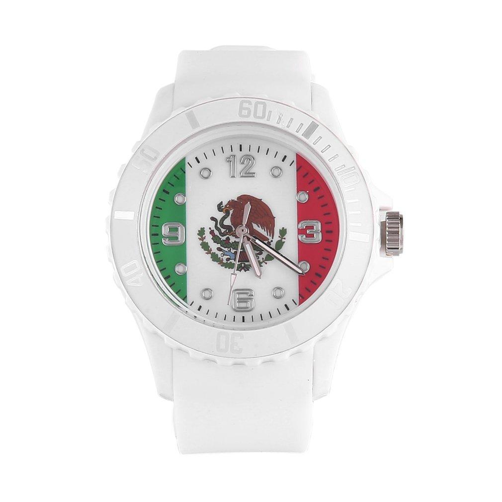 9373788b801a Compre 2018 Nueva Suave Cómoda Bandera Mexicana Patrón Verde De Silicona  Cuarzo Unisex Reloj Relojes Casuales Del Amante A  25.13 Del Hermane