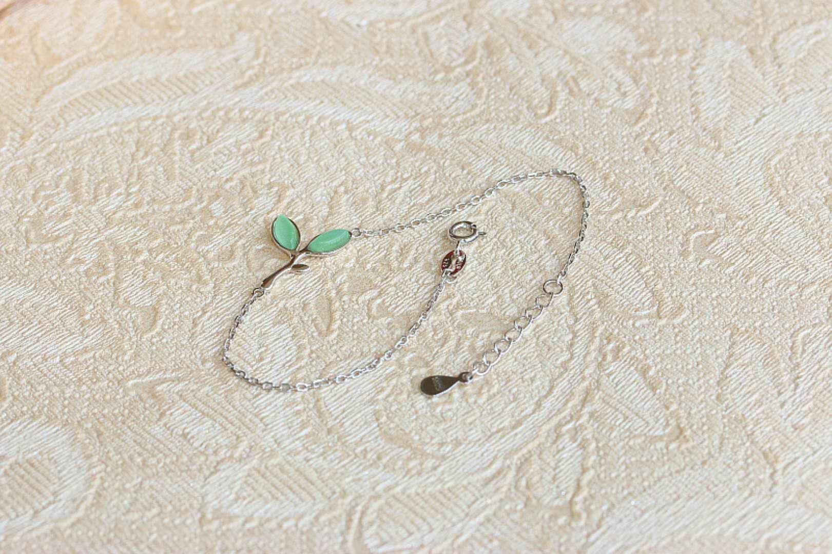 New arrival Fashion 925 Sterling Silver jewelry Lucky green leaf bracelet Original natural opal bracelets Hot sale gem Link, Chain popular