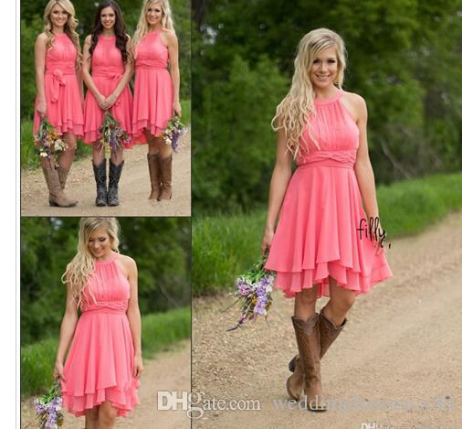 2017 Country Style Short Bridesmaid Dresses Watermelon Royal Blue Light Blue High Low Cheap Halter Neck Ruched Backless Summer Boho Dresses