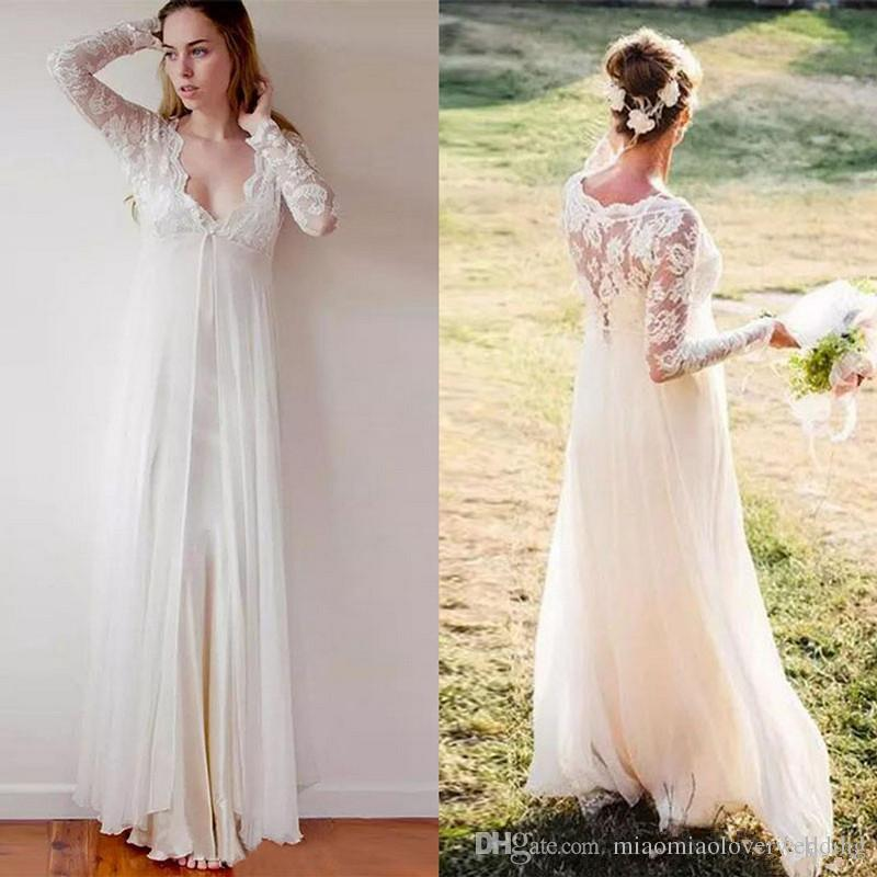 Discount Bohemian Lace Maternity Wedding Dress Country Garden Plus ...